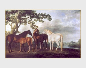 """11 X 14""""  canvas art print~     George Stubbs_-_Horses, Equine, mares_and_foals_in_a_landscape._1763-68"""