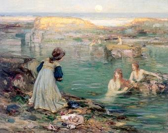 """Sea-Maidens by Blacklock, ocean, sea, sailing, beach,   8x10""""  Canvas art print"""