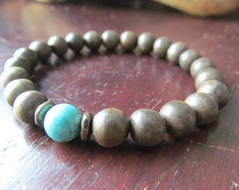 Turquoise and Greywood Bracelet, Stacking Bracelet,  Layering Bracelet, Men's Beaded Wood Bracelet, Yoga Jewelry, Men's Jewelry