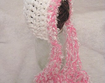 Crochet Baby Bonnet White With Pink And White Fuzzy Trim