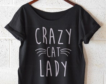 Crazy Cat Lady, off shoulder, Off Shoulder tshirt, Fashion Cats Meow Kitten Cute Lover Tee, kitten, meow, funny tshirt, womens t shirt