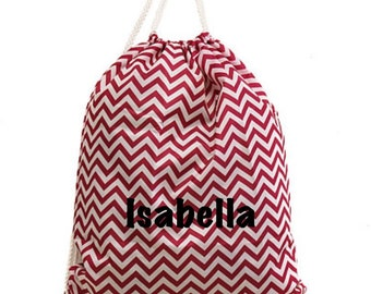 Monogram Hot Pink and White Chevron Gym Bag Cinch Sack Dance Bag with Custom Personalization