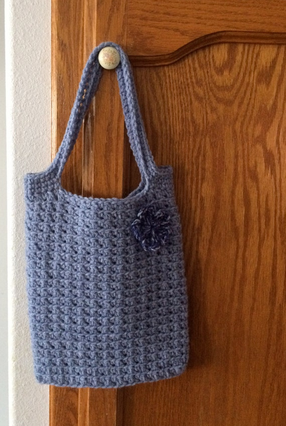 Crochet Lunch Bag : Crochet Medium Tote, Gift Bag, Lunch Bag in Denim Blue, Ready To Ship!