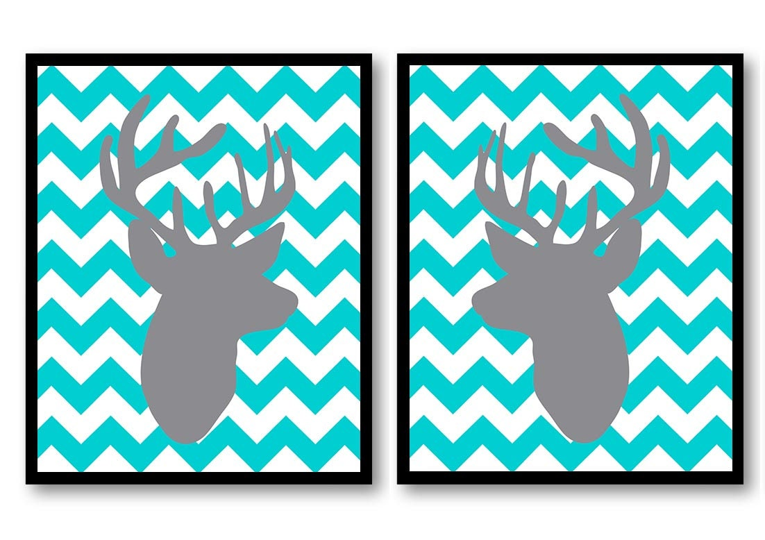 Deer Nursery Art Deer Head Prints Set of 2 Blue Turquoise Grey Chevron Baby Wall Decor Forest