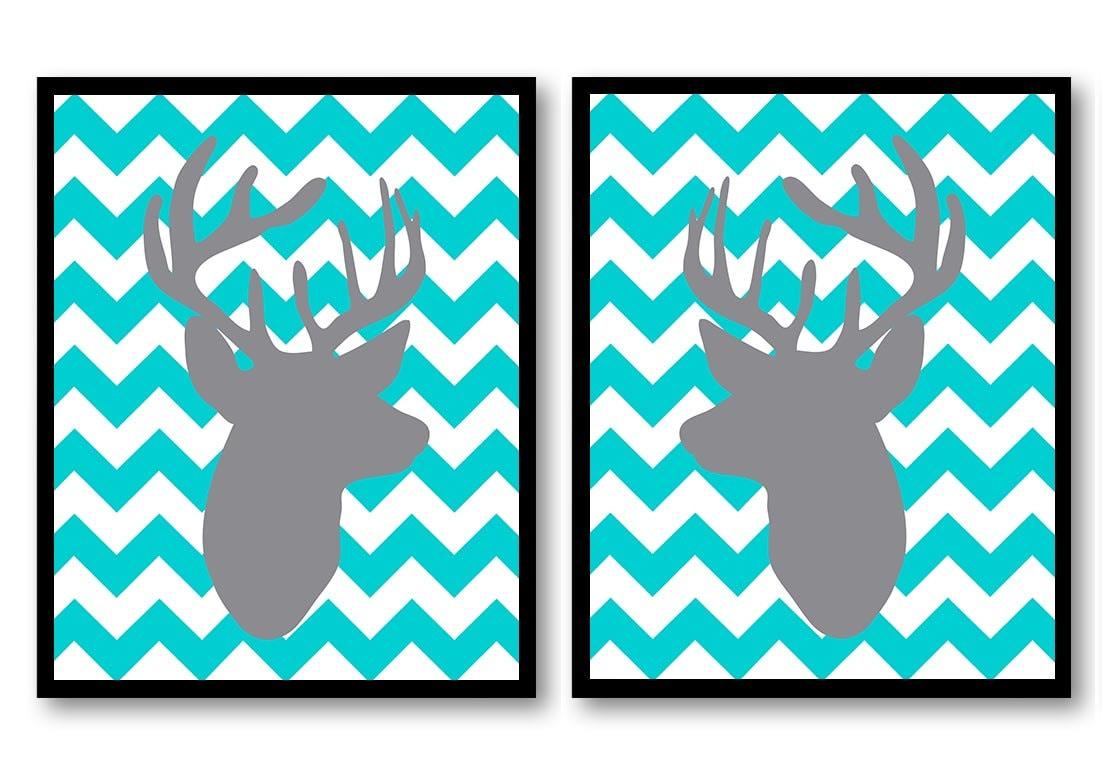 Deer Nursery Art Deer Head Prints Set of 2 Blue Turquoise Grey Chevron Baby Wall Decor Forest