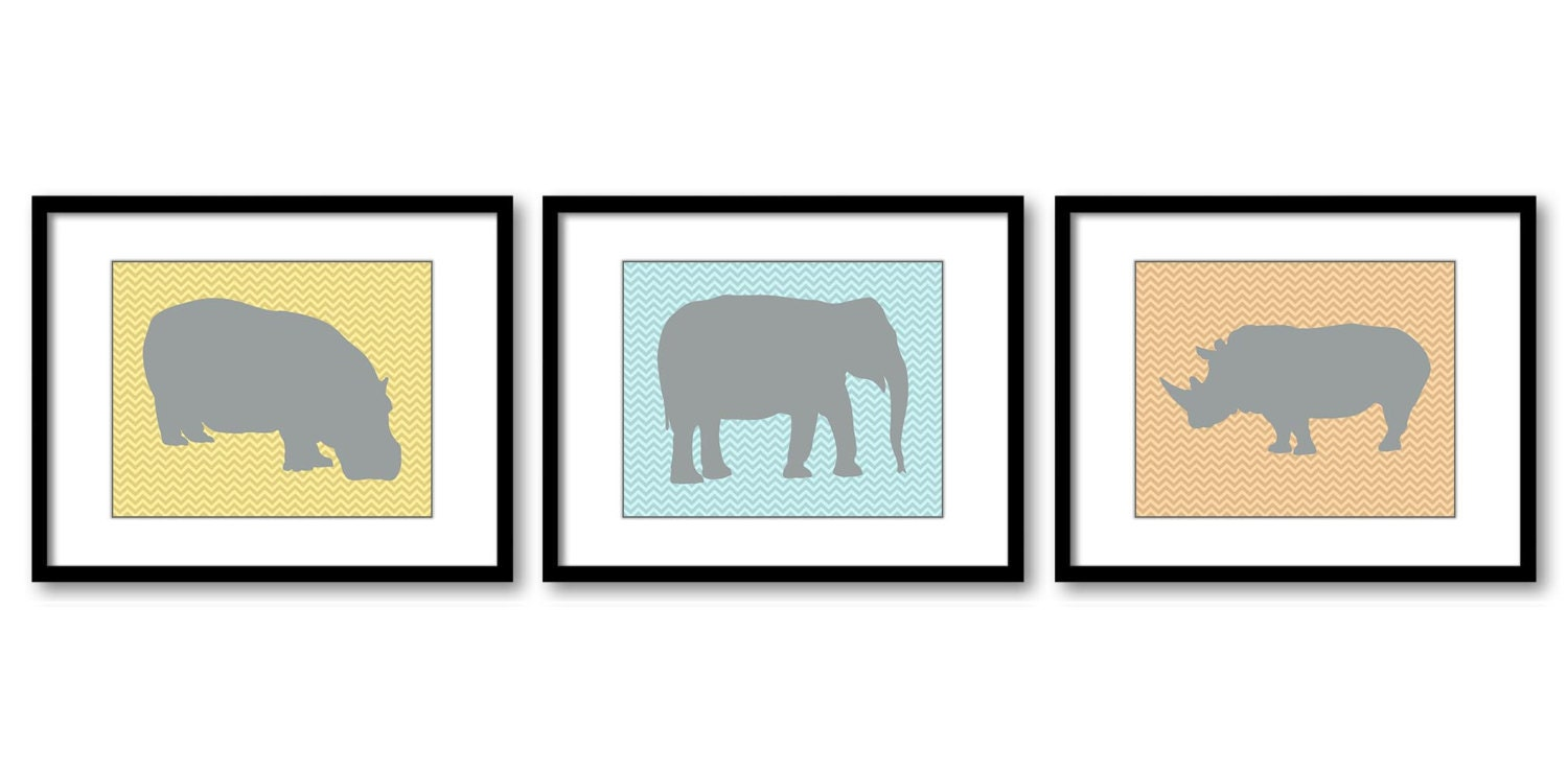 African Safari Animals Prints Grey Pastel Blue Yellow Orange Kid Room Art Nursery Art Chevron Set of