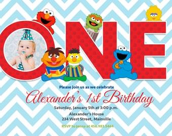 Baby Elmo Sesame Street First Birthday Invitation -  Digital or Printed with Envelopes