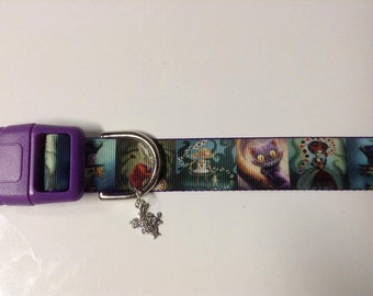 Alice in Wonderland Inspired , White rabbit, crazy Queen of Hearts,  the Mad Hatter and the Chesire cat adjustable dog collar with charm