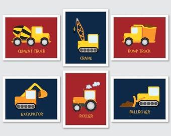 Boy Nursery Art, Construction Nursery Art, Construction Nursery Decor, Construction Wall Art, Construction Decor, Trucks Excavator Bulldozer