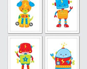 Robot Nursery Prints, Set Of 4, Nursery Robot Decor, Robot Nursery Gift, Robot Poster, Robot Nursery Art, Robot Nursery Decor, Robot Prints