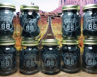 Route 66 Mason Jars - Nine Jars - 8 States + US Route 66 - Pint size, 16oz, lids