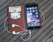 iPhone 6 PLUS Leather Wallet Case Cover - Dark Brown -hand made Vintage Real Genuine Leather - Kavod - Free shipping in the US Active
