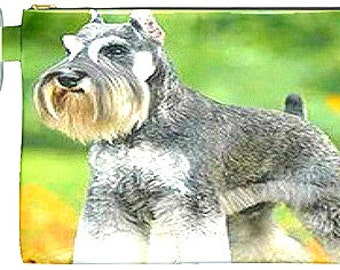 Gorgeous Schnauzer Accessory Bag, Double Sided, Carabiner Attachment!