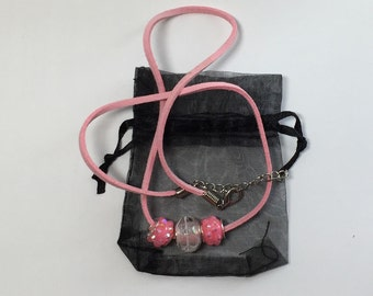 Pink suede leather cord necklace