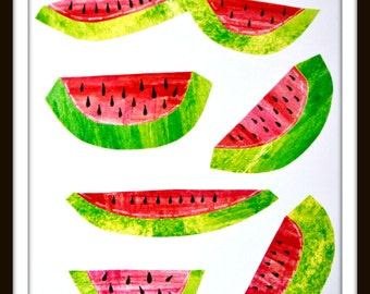 Summer Time! Kitchen Print. Watercolor Watermelons.