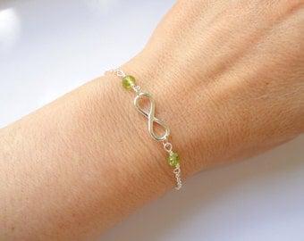 Sterling silver Infinity peridot bracelet, Infinity bracelet, Infinity jewelry, Bridesmaid gift, August birthstone bracelet,Gifts