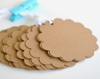 kraft circle scalloped tags with string, kraft gift tags, kraft favor tags, kraft scalloped price tags- 15 tags