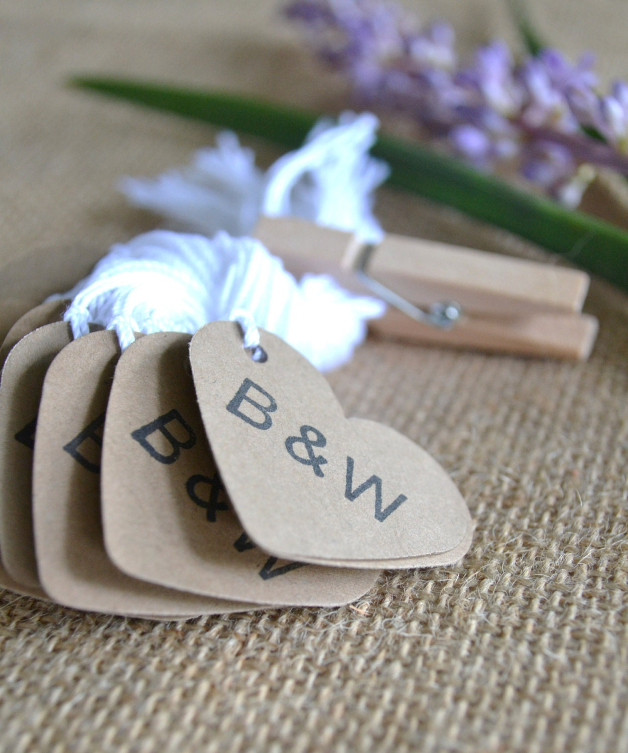 custom initial heart wedding favor tags kraft mini heart bulk