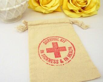 Bachelorette Party Cotton Bag, Muslin Wedding Survival Kit In Sickness & In Health Bag, Organic Cotton Bag, Cotton Drawstring Bag