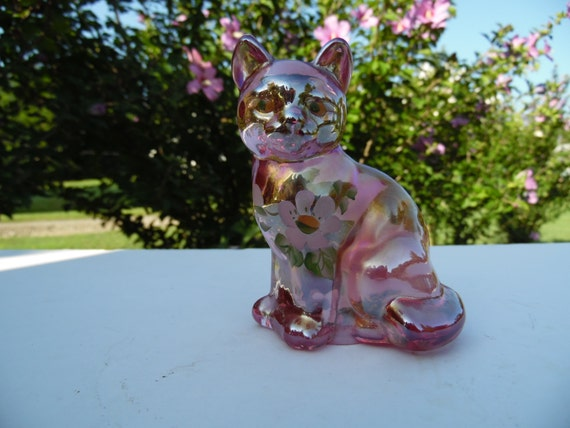 Fenton Art Glass Cat Figurine Hand Painted And Signed