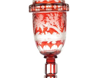 Victorian Red Bohemian Etched Glass Covered Jar c.1900s