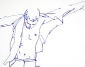 """Fine Art Print, Pen and Ink drawing, man putting on shirt, """"Shirts and Skins,"""" 8x10"""