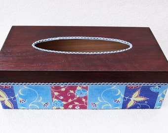 Tissue Box Cover, Decoupage tissue Box Cover, Handmade tissue Box