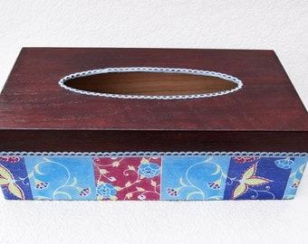 Tissue Box Cover, Decoupage tissue Box Cover, Handmade tissue Box