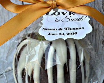 25 Caramel Apples - Milk Chocolate - Wedding Favors - Fall Favor - Chocolate Caramel Apple - Bridal Shower Favor - Birthday Party Favor