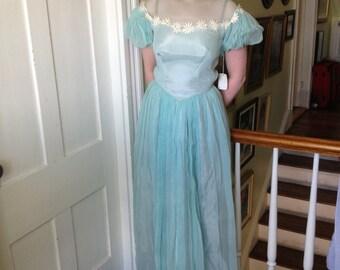 Powder Blue 1950's Floral Embellished Floor-Length Tulle Gown