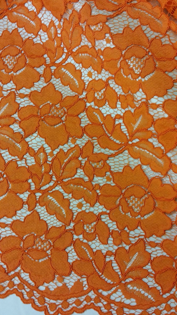 Orange lace fabric by the yard Spanish Lace Alencon Lace