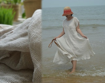 280-Thin Linen Bias Cut Tunic Dress, Natural Linen Robe, with Embroidery.(Excluding the Leather Belt), Made to Order.