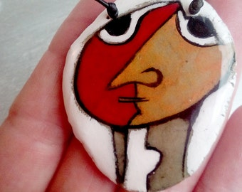 unique paper mache pendant,handmade,colorful,abstract,for her