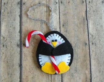 Felt Penguin Holding Candy Cane Christmas Ornament