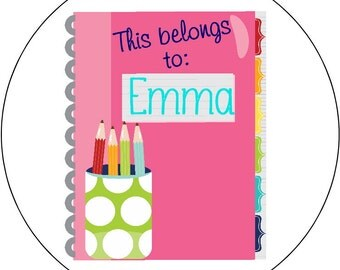 School Supplies Labels Bright Preppy Notebook with Pencils Round Sticker Tags Back to School Name Labels for school supplies