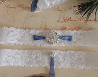 Wedding garter set /White Lace/Rhinestone/Kyanite stone/Something blue