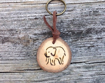 Elephant Wood Burned Keychain