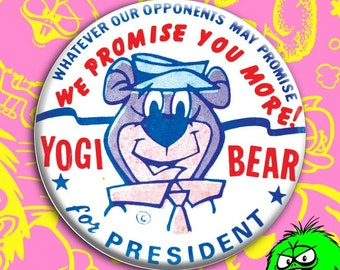 "MEDIUM Yogi Bear for President Vintage Replica Button (2.25"" pin) [hanna barbera presidential campaign badge red white and blue cartoon]"
