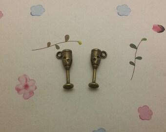 50pcs antique bronze color metal wine glass charm , metal wine glass pendant , 25x11mm , CP1010
