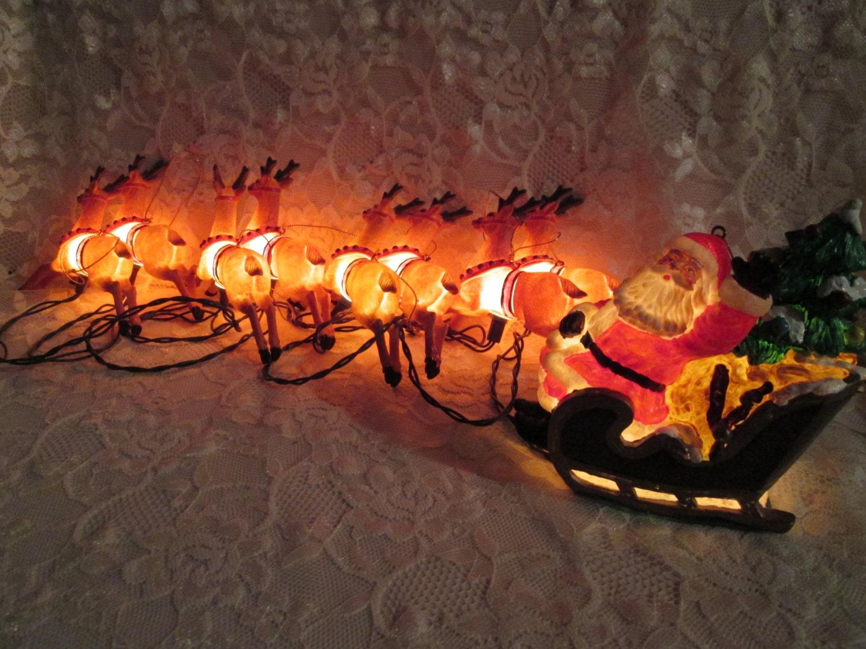 santa sleigh reindeer christmas lights vintage novelty new. Black Bedroom Furniture Sets. Home Design Ideas