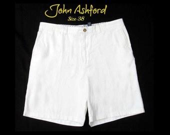 vintage men's shorts,men' dress shorts, casual shorts, men's white shorts, Size 38,    # 132