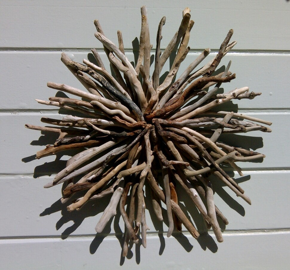 Driftwood wall sculpture driftwood art sunburst wall hanging for Bronze wall art