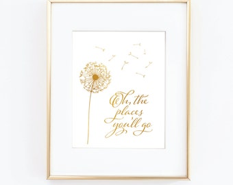 Oh, the places you'll go, Gold Foil Print, Motivational Print, Gold Gallery Wall Prints,Gold & White Decor, Nursery Art decor,