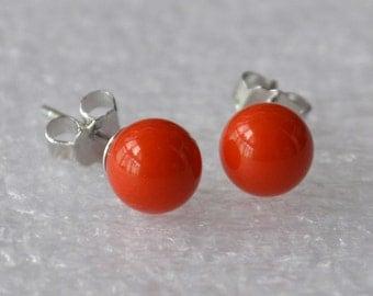 small orange pearl earrings,6mm Glass Pearl earrings,orange earrings,round pearl stud earrings,bridesmaid earrings, orange bead earrings