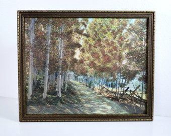 Vintage Framed Hand Colored Tinted Photo of Country Road By M. Ostdiek Wall Decor Cottage Style