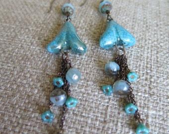 aqua earrings, boho earrings, aqua boho earrings, blue earrings, very long earrings, cruise earrings, vacation earrings, resort earrings