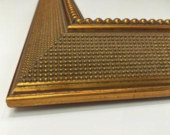 Gold Picture Frame, Rustic Wedding Frame, Cottage Chic Frame, Shabby Chic Frame, Any Size, 11x14 Frame, 8x10 Frame, Custom Size Frame