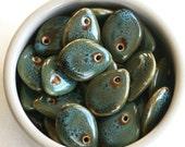 Teardrops, Teardrop Beads, Porcelain Teardrop Beads, 4 Top Drilled Beads, Porcelain Beads, Puffed Beads, Bead Supplier, Bead Supply #A1