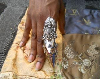 25% OFF Sale!! Freaky Skeleton Finger Armor Statement Ring