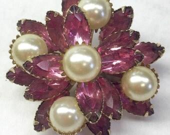 Vintage Pink and Pearl Rhinestone Brooch
